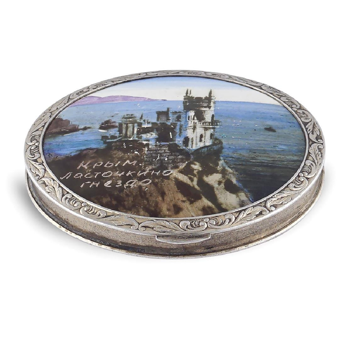 Silver and polychrome enamel compact powder Russia,