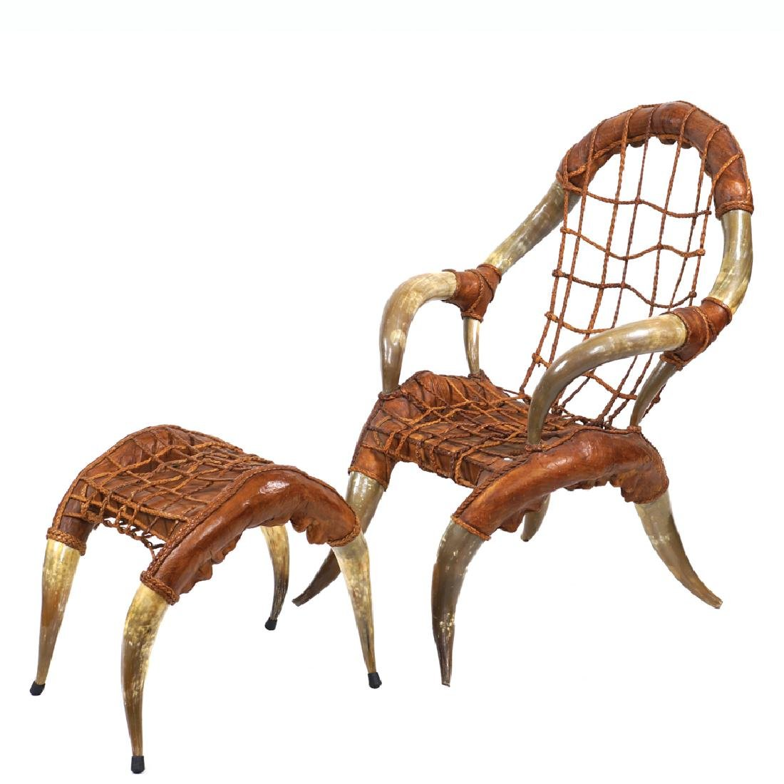 Armchair with footrest 20th century