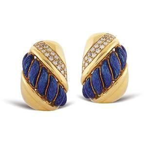 18kt gold bombe earrings signed Sabbadini Milano