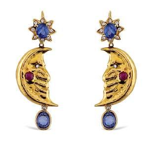 Filippo Moroni Luna pendant earrings Rome 1980s