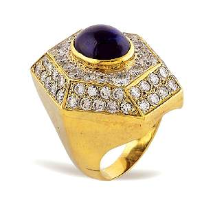 14kt gold and cabochon sapphire ring 1950s1960s weight