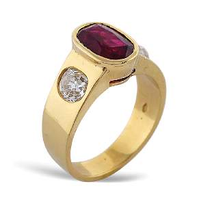 18kt gold ring with ruby 1950s1960s weight 128 gr