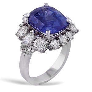 18kt white gold ring with natural sapphire 10,14 ct