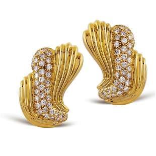 18kt gold and diamond lobe earrings signed La Triomphe