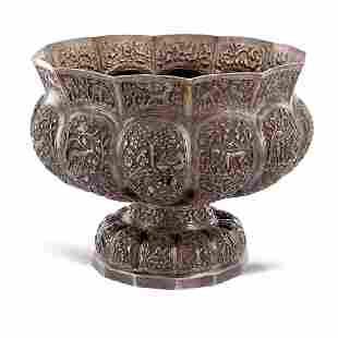 Silver centerpiece Oriental art 20th century