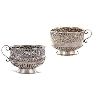 Two silver cups Oriental art 19th20th century