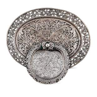 Group of two silver objects Oriental art