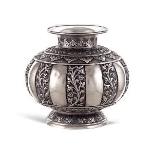 Silver vase Oriental art 19th20th century
