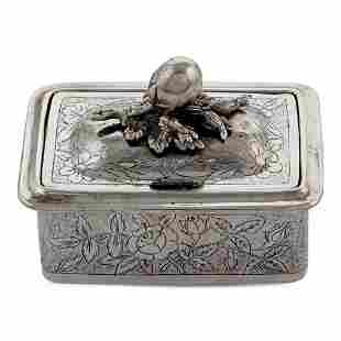 Silver soap box oriental art early 20th century