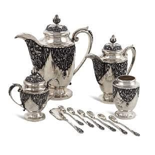 Silver tea and coffee service Oriental art