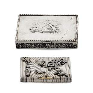 Two silver snuffboxes Russia 20th century