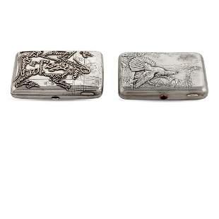 Two silver cigarette boxes Russia 19th20th century