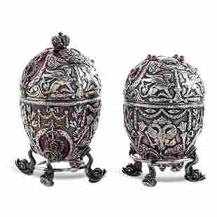 Pair of silver and enamel eggs Russia 20th century