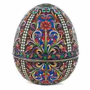Vermeil and cloisonne enamel egg Moscow 1899 1916
