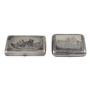 Two silver snuffboxes Russia 19th 20th century