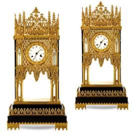 Pair of a la Cathèdrale table pendulum clocks