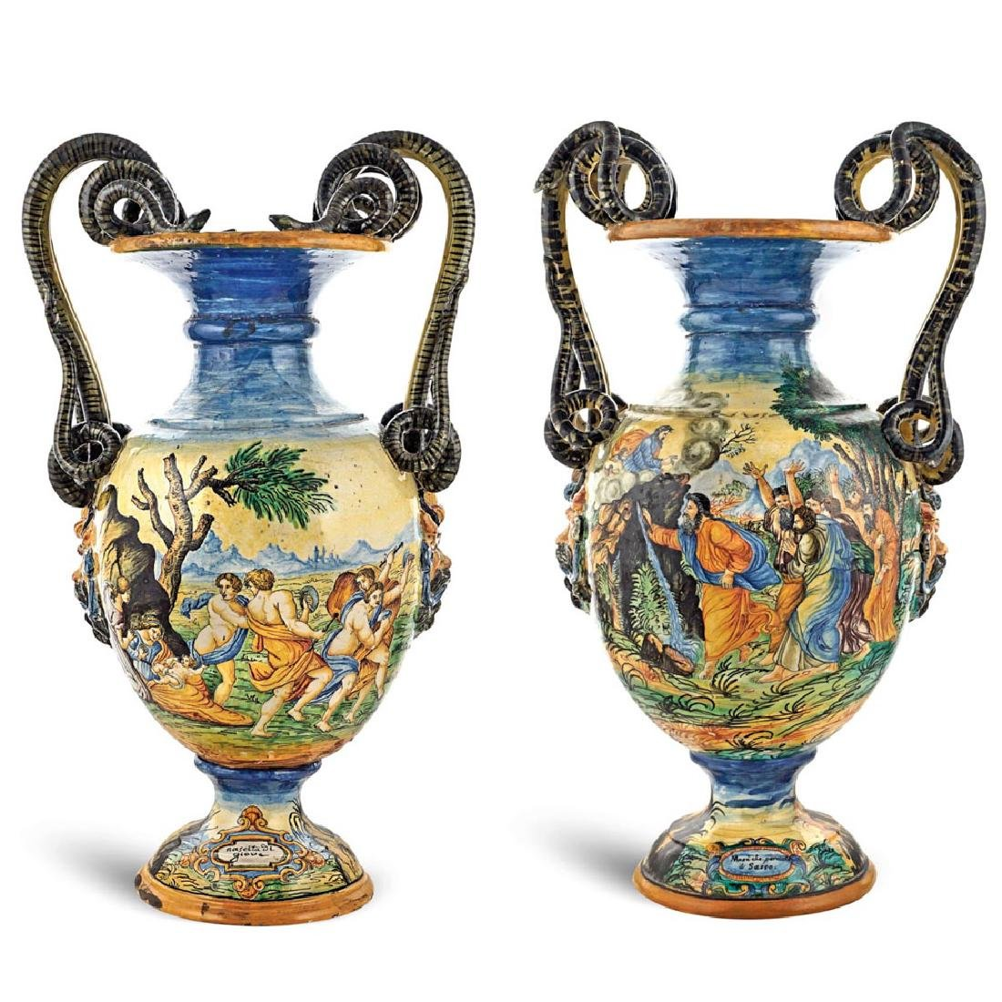 A pair of majolica vases