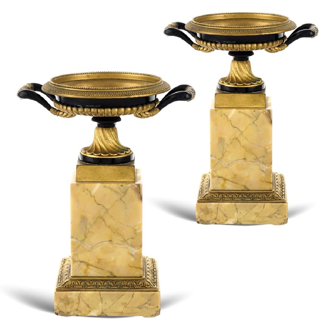 Pair of marble and bronze small stands
