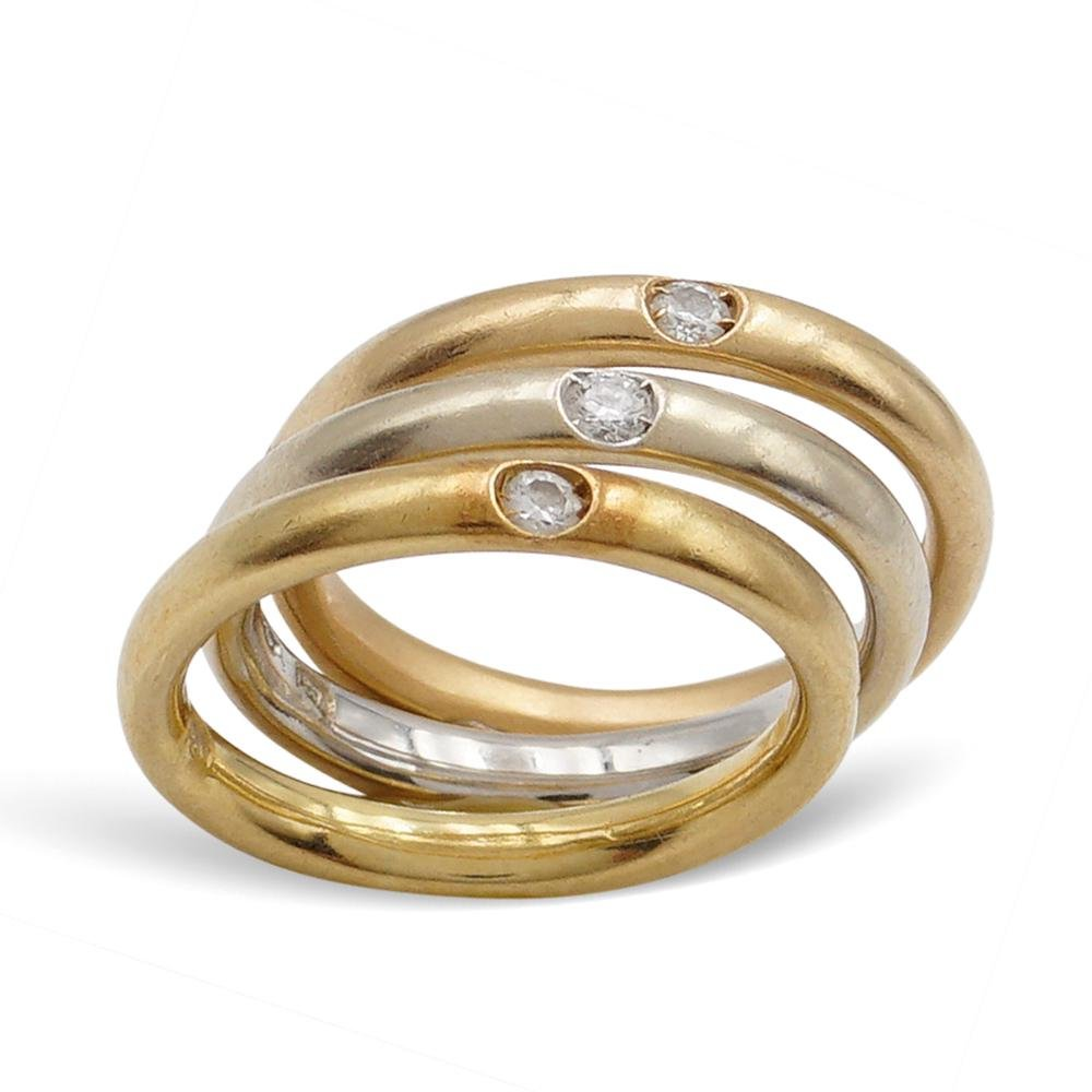 Pomellato, 18kt three color gold band rings  weight 7,5