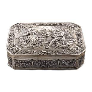 Silver octagonal box Germany 19th century weight 234