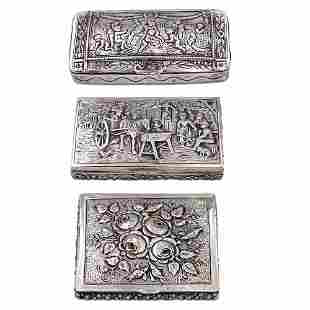 Group of silver boxes 3 Germany 19th20th century
