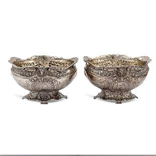 Pair of silver stands Germany 19th century weight 368