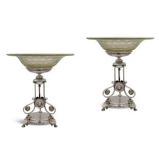 Pair of silver and glass stands Birmingham 1882 weigth