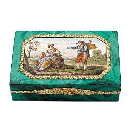 Malachite, gold and micromosaic snuff box France, 19th