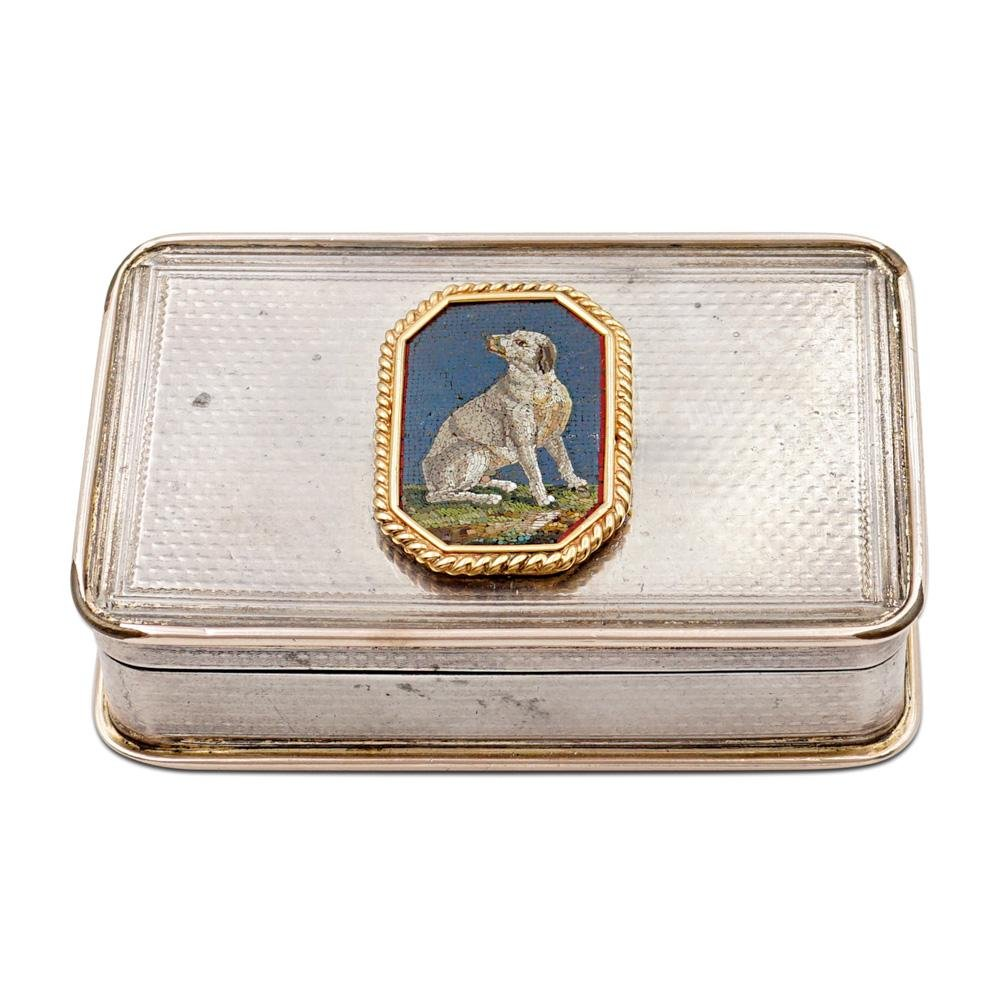 Silver, vermeil and micromosaic snuff box London,