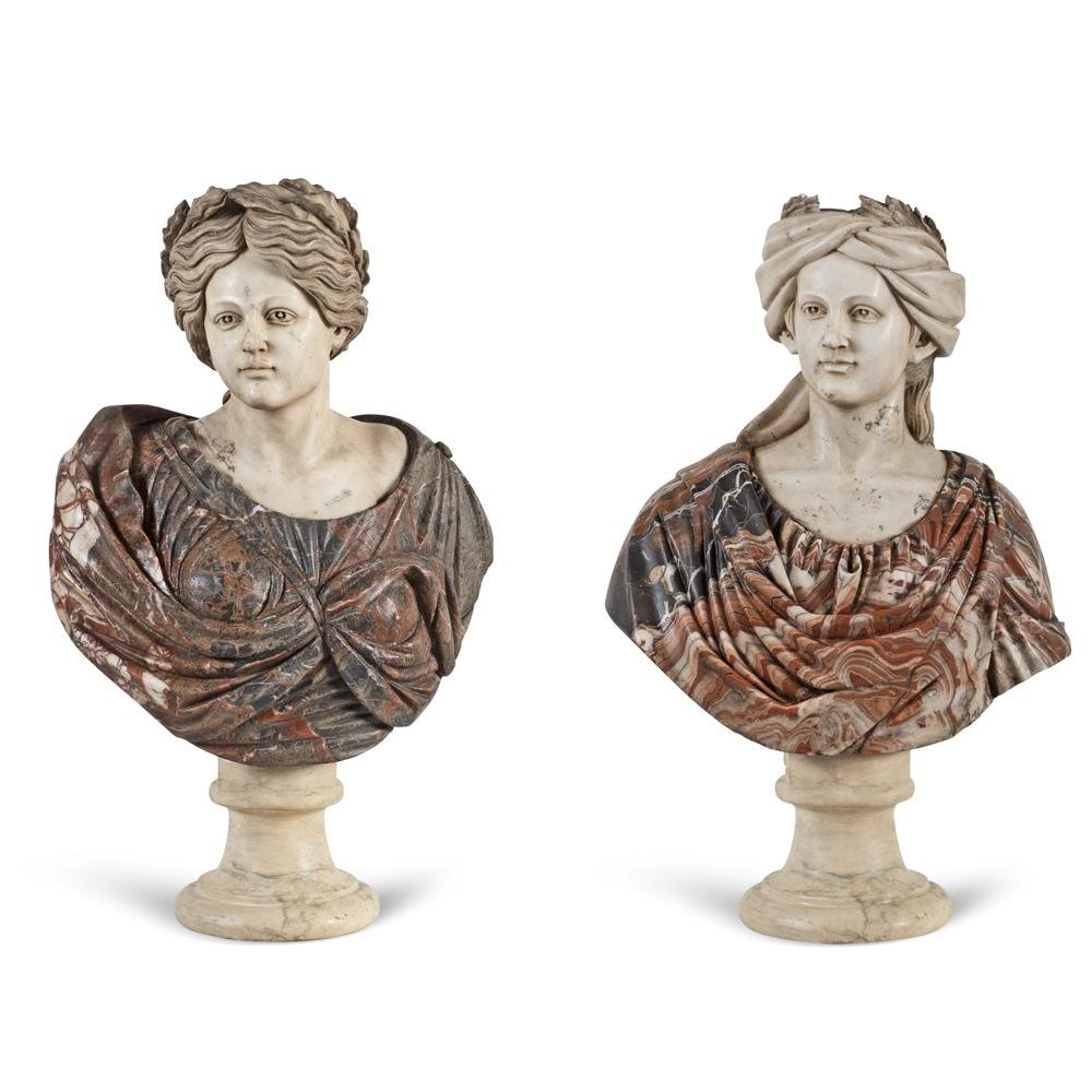 Pair of white and polychrome marble busts Italy, 20th