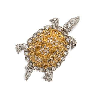 18kt white and yellow gold and diamond turtle shaped