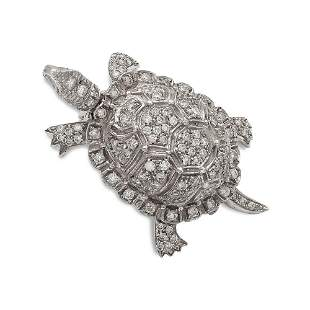 18kt white gold and diamond turtle shaped brooch