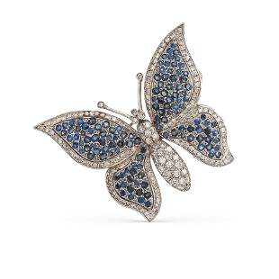 18kt white gold sapphires and diamond butterfly brooch