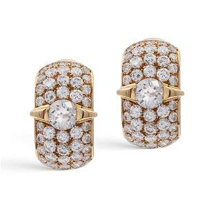18kt yellow gold and diamond earrings weight 84 gr