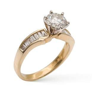Solitaire ring with brilliant cut diamond circa 055 ct