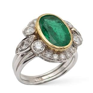 18kt white and yellow gold ring with natural emerald