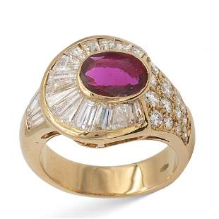 18kt yellow gold with natural ruby circa 110 ct