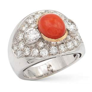 18kt white and yellow gold coral and diamond ring