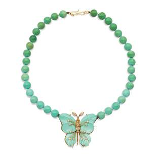 One strand of natural turquoises necklace weight 48,8