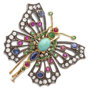 Silver and yellow gold butterfly brooch early 20th