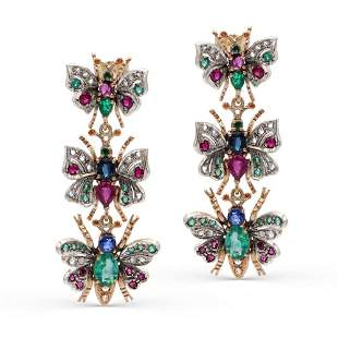 Rose gold and silver butterfly earrings weight 13,2