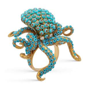 14kt yellow gold and turquoises octopus ring weight