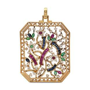 18kt yellow gold and precious stones floral pattern