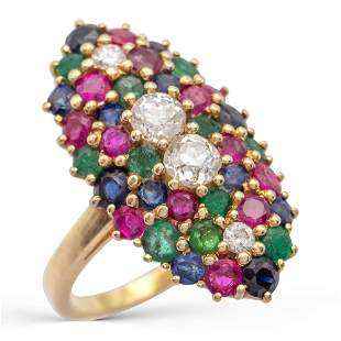 18kt yellow gold, diamonds, sapphires, rubies and