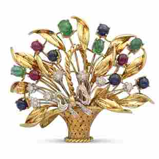 18kt yellow and white gold basket brooch weight 40,8