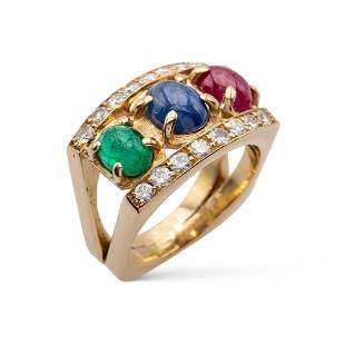 18kt yellow gold, ruby, sapphire and emerald ring