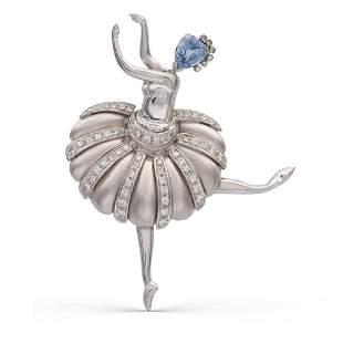 18kt white gold and diamond ballerina brooch