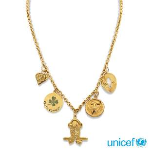 18kt yellow gold necklace with five charms weight 24