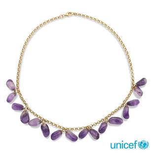 18kt yellow gold and pendant amethysts necklace weight