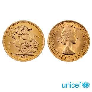 10 Gold Sovereign coins England,1968 weight 80 gr.circa